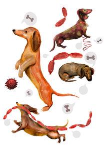 Sausage Dogs chasing Sausages von Laima Kin