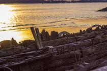Sonnenuntergang im Wrack an der Elbe von Dennis Stracke