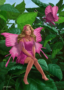 Pink pretty Fairy on leaf with pink Butterfly by Martin  Davey