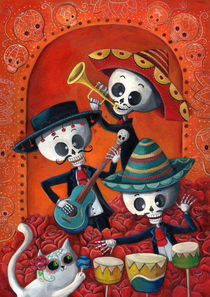 Mexican Skeleton Musicians by Monika Suska
