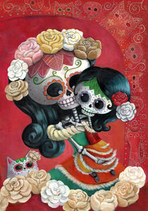 Mexican Mother and Dauther Skeletons by Monika Suska