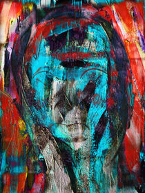 Abstract head in turquoise von Gabi Hampe