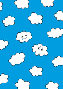 Blue Sky Happy Funny Clouds von Boriana Giormova