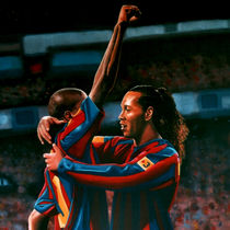 Ronaldinho and Eto'o painting by Paul Meijering