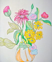 Vase of Flowers in Colored Pencil von Christine Chase Cooper