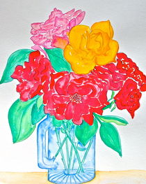 Roses in Blue Mug by Christine Chase Cooper