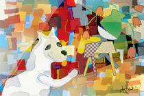 Bad Dog Cubism von Angela Allwine