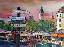 München mit Wegweiser am Viktualienmarkt by M.  Bleichner