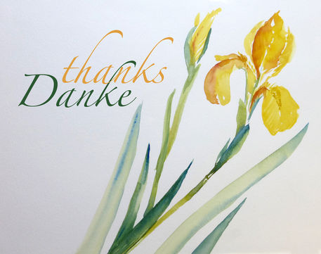Malen-am-meer-iris-gelb-aquarell-mit-schrift