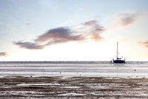 Family stranded with sailboat at low tide by creativemarc