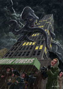 Monster Octopus attacking building in storm by Martin  Davey