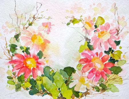 Malen-am-meer-magariten-rosa-aquarell-sonja-jannichsen