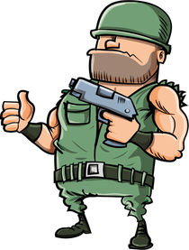 Cartoon soldier giving a thumbs up von Anton  Brand