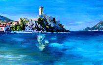 Malcesine mit Scaligerburg am Gardasee in Italien von M.  Bleichner