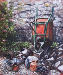 Still life wheelbarrow with collection of pots by stone wall by Martin  Davey
