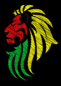 Lion Reggae Colors Cool Flag Vector by Denis Marsili