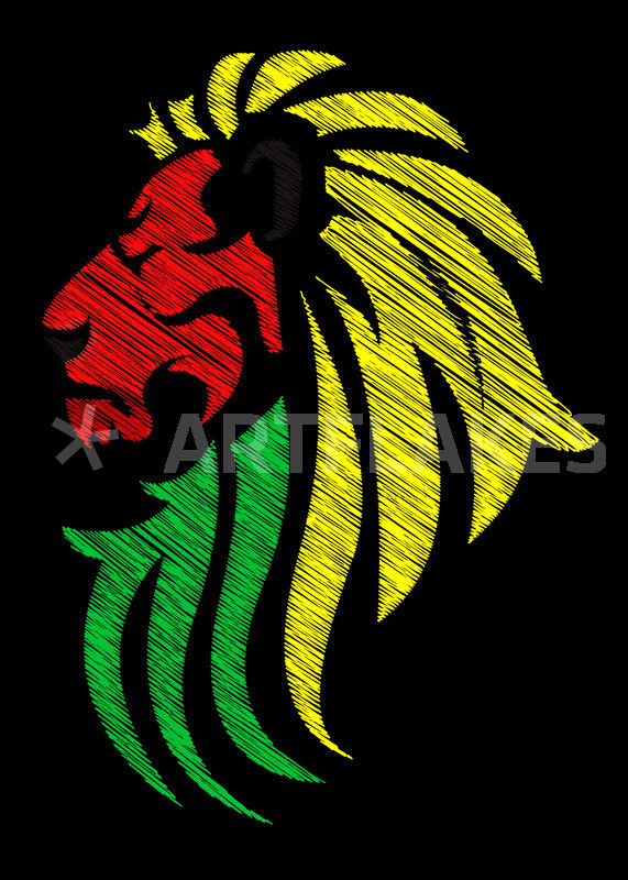 Reggae Lion Flag Vector Rgb
