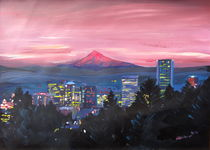 Portland Oregon with Red Mt Hood at Sunset by M.  Bleichner