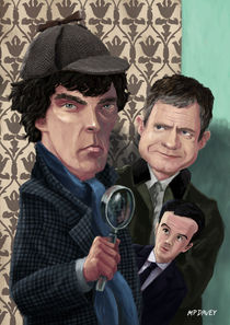 Sherlock Homes Watson and Moriarty at 221B by Martin  Davey