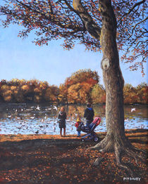 Feeding the Ducks at Southampton Common von Martin  Davey