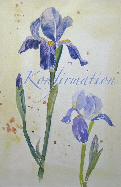 Malen-am-meer-aquarell-iris-mit-text-konfirmation-sonja-jannichsen