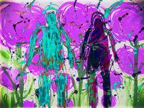 People walking through violet flowers by Gabi Hampe