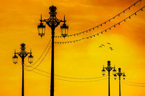 Brighton Seafront Streetlights At Sunset by Chris Lord