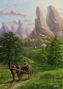 Landscape with man driving horse and cart by Martin  Davey