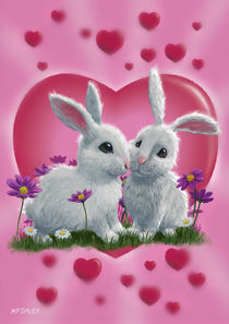 Romantic White Rabbits with Heart by Martin  Davey