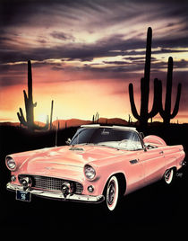 New Day - A 1956 Ford Thunderbird Convertible in Sunset Coral color starts the day in the cool of the desert. von Mark Watts