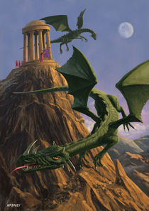 Dragons flying around a temple on mountain top  von Martin  Davey