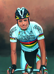 Cadel Evans painting by Paul Meijering
