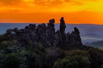 Teufelsmauer Harz bei untergehender Sonne von Daniel Kühne