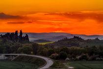 Die Teufelsmauer Harz während des Sonnenuntergangs von Daniel Kühne