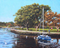 Sailing Boats and Yachts on the River Stour Christchurch by Martin  Davey