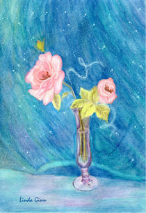 Pink Roses on Blue by Linda Ginn