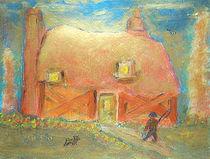 Cottage, Fisherman, and Schnauzer Dog von Richard W Linford