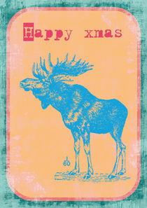 happy xmas Weihnachten blauer Elch von Verona Zehelein