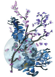 Flower twigs and blue moon by Christina Rahm