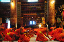 Monks praying in Luang Prabang, Laos by Luciano Lepre