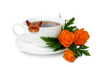 Mug with coffee and flowers on white background von larisa-koshkina