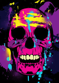 Colorful Skull with Paint Splatters and Drips von Denis Marsili