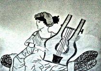 Woman with a harp von nellyart