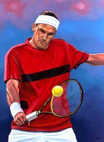 Roger Federer painting von Paul Meijering