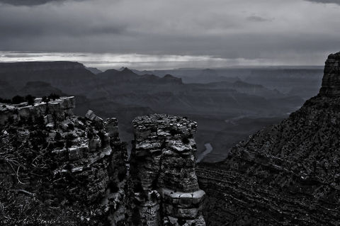 Rock-pillar-grand-canyon-bw