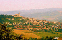 Panoramic Landscape Painting of Italian Skyline by Maggie Vlazny