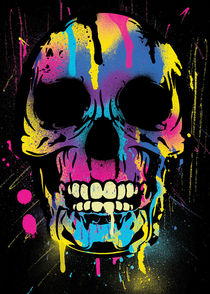 Colorful Skull with Paint Splatters and Drips  by Denis Marsili