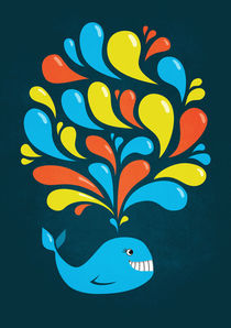 Dark Happy Cartoon Whale by Boriana Giormova