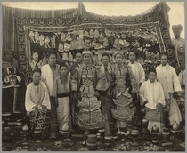 Theatre company, Burma, c.1910 (b/w photo) by Bridgeman Art