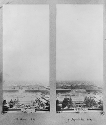 Two views of the construction of the Eiffel Tower by Bridgeman Art